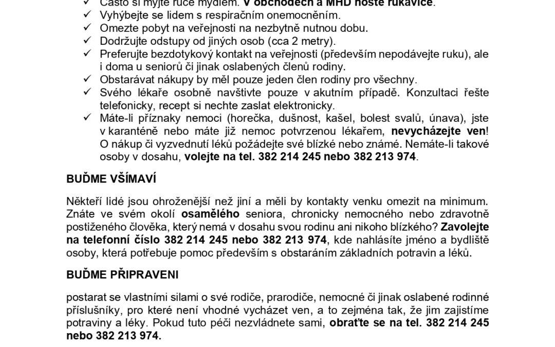 Město Písek-opatření koronavirus